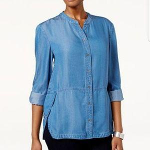 Style & Co Tab Side Snow Wash Denim Shirt Size XL