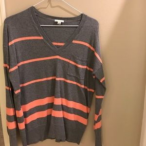 Gap sweater striped gray and coral