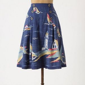 Anthropologie Nautical A-Line Skirt   Size 0