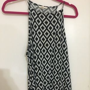 Black and white ikat tank