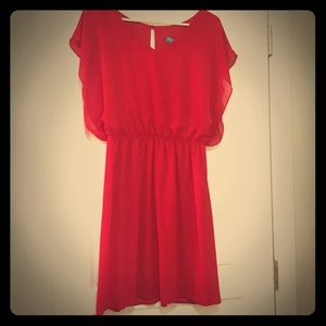 NWT Red Cinched waist Dress & Sexy Slitted Back