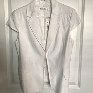 New York & Company White Short Sleeve Blazer SizeM