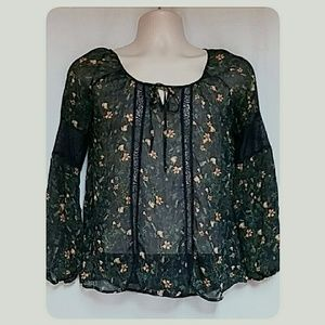Princess Vera Wang Boho Sheer Top Black Floral
