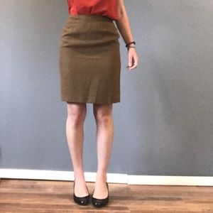 Vintage wool khaki pencil skirt