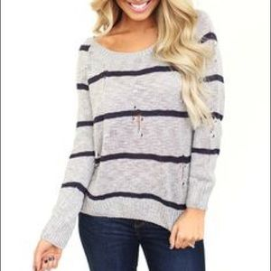 Sweaters - Striped Distressed Sweater