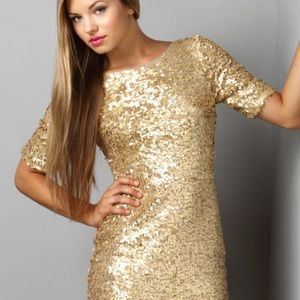 Ark & Co Gold Sequin Mini Dress