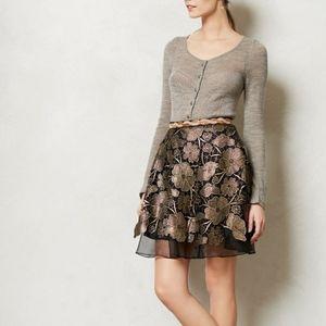 Eva Franco Anthropologie Gilt Bouquet Lace Skirt