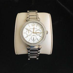 Michael Kors Parker Swarovski Silver Watch