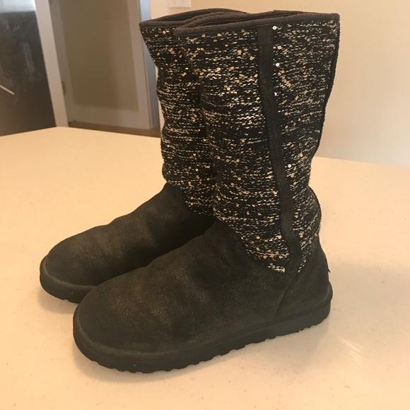 0ee5532499f UGG Gunmetal Suede Sequin Knit Boot