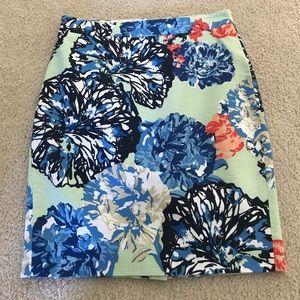 J Crew Floral Pencil Skirt Size 00 Petite
