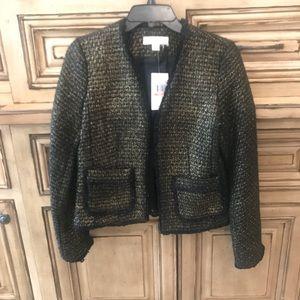 NWT Michael Kors Wool Tweed Black and Gold Blazer