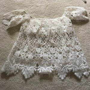 lace see through off the shoulder crop top