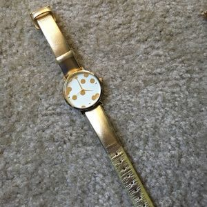 Gold Kate Spade genuine leather watch confetti