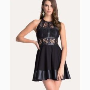 Bebe Black Faux Leather and Lace Dress