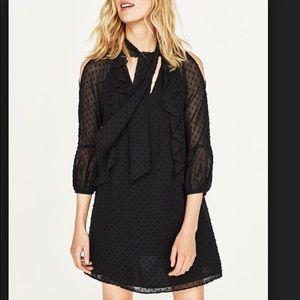 Zara Collection  Black chiffon dress