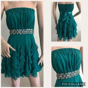 Green Jeweled Flirty Dress
