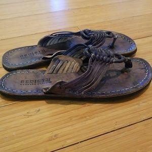 Bed Stu Black Distressed leather sandals