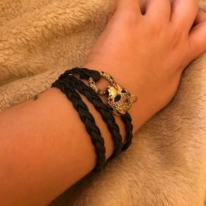 Leopard leather braided wrap bracelet - UO