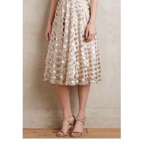 Anthropologie blush polka dot skirt