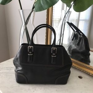 Black leather coach purse with silver hardware