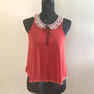 Free People Tank with Lace Peter Pan Style Collar