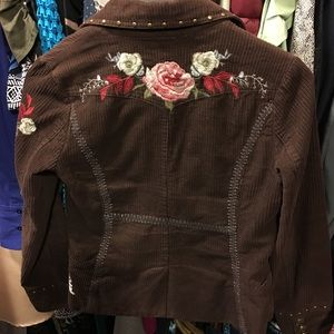 Cute fitted embroidered studded corduroy jacket