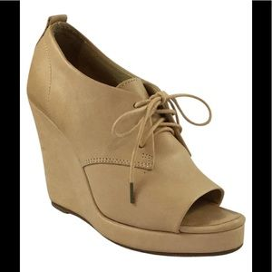 Rag & Bone Nude Open Toe Wedge Oxford Laces 37