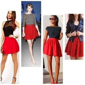 H&M Divided Red Textured Skater Skirt 6 M S
