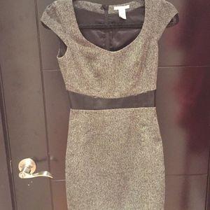 Grey Tweed Work Dress with Faux-Leather Trim