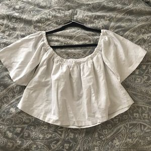 White off the shoulder crop top