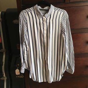 NWT Zara Mixed Stripe Silky Shirt