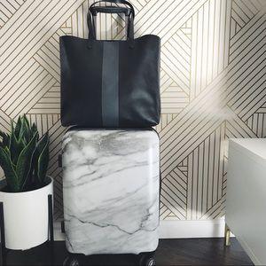Madewell Black + Grey Stripe Transport Tote