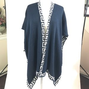 Knitted poncho cape style cardigan