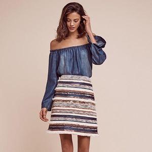{ANTHROPOLOGIE] Erine Beaded Mini Skirt