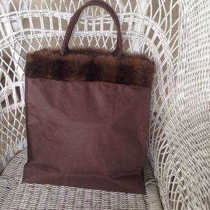 Faux fur trimmed tote bag