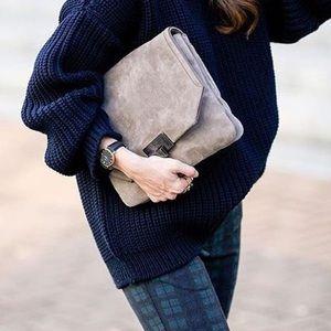 Frame Denim Navy Chunky Oversized Sweater