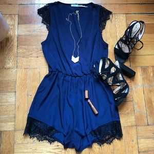 Navy Blue Georgette/Lace Romper
