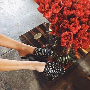 Dolce Vita Studded Leather Loafer Mules