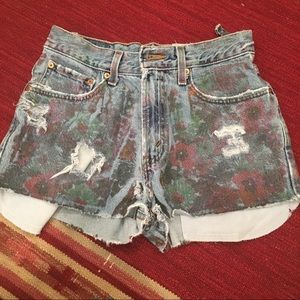 Vintage LF Levi Paint High Wasted Jean Shorts