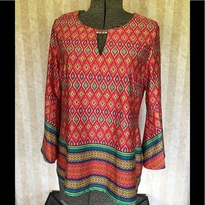 Colorful bell sleeve top.