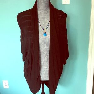 Black Cardigan with Short Sleeves Soft Stretchy