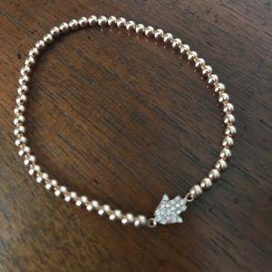 Rose gold plated beaded bracelet w/ crystal Hamsa
