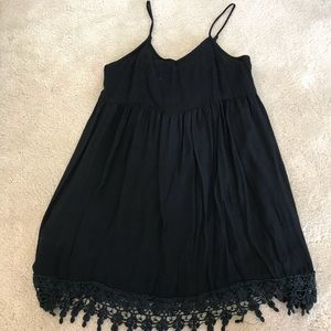 Black Tunic Tank with Lace Trim