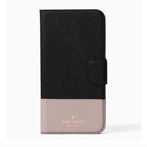 Kate Spade Folio Leather iPhone 7 case Blk/Pebbled
