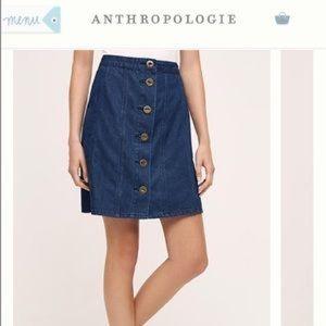 Anthropologie Pilcro button up denim jean skirt