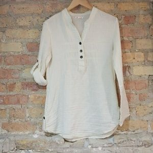 Tulle Cream Cotton Tunic with Metal Buttons