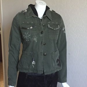Miss Me fleece lined military inspired jacket