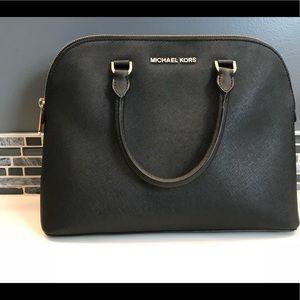 Michael Kors Black Leather Cindy Satchel