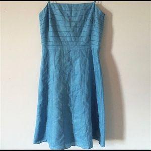 Ann Taylor Blue 100% Linen Spaghetti Strap Dress
