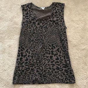 Olive and Black Leopard Print Sleeveless Shirt